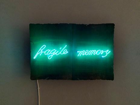 Federica Marangoni, FRAGILE MEMORY, pagine in ferro arruginito e scritta al neon blu, 30x50, 2019, courtesy c|e contemporary