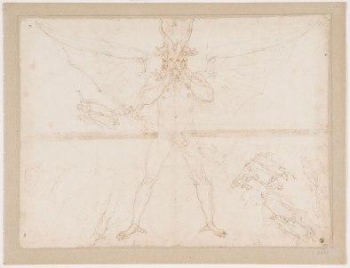 Federico Zuccari, Dante Historiato, Nono cerchio: Lucifero, Inferno, Canti XXXII-XXXIV, 1586-88, Gabinetto dei Disegni e delle Stampe, Uffizi, Firenze GDSU inv.3501 F