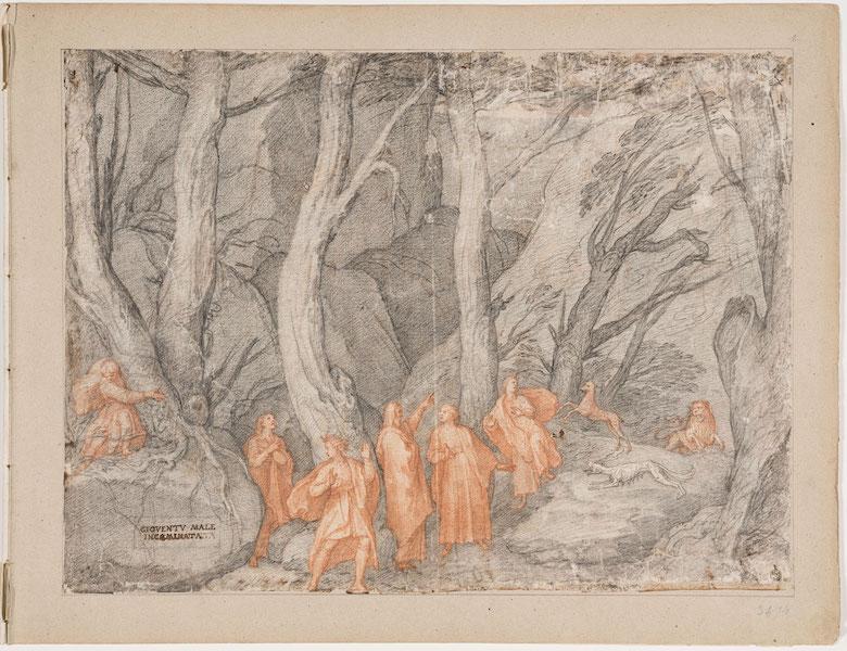 Federico Zuccari, Dante Historiato, La selva oscura, Inferno, Canto I, 1586-88, Gabinetto dei Disegni e delle Stampe, Uffizi, Firenze GDSU inv.3474 F