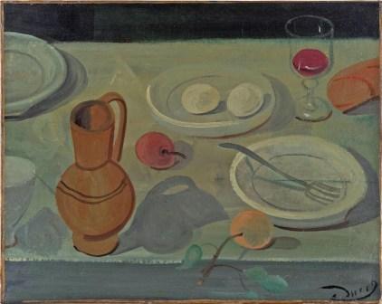 André Derain, Nature morte au pichet et verre de vin, 1938, olio su tela, 43.5x55 cm, Collezione privata © 2020, ProLitteris, Zurich