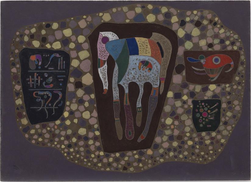 Vasily Kandinsky, Fragments, maggio 1943, olio e gouache su cartone, 41.9×57.9 cm, Solomon R. Guggenheim Museum, New York, Collezione Solomon R. Guggenheim Foundation, donazione 49.1224 © Vasily Kandinsky, VEGAP, Bilbao, 2020