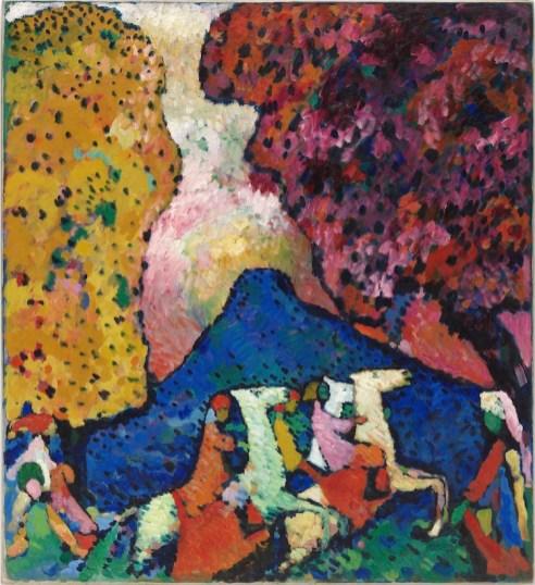 Vasily Kandinsky, Der blaue Berg), 1908–09, olio su tela, 107.3×97.6 cm, Solomon R. Guggenheim Museum, New York, Collezione Solomon R. Guggenheim Foundation, donazione 41.505 © Vasily Kandinsky, VEGAP, Bilbao, 2020
