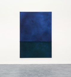 Hermann Bergamelli, Blu di verde, 2020, tintura con elementi naturali e chimici su tessuto, 190x130 cm Photo by Petrò-Gilberti Courtesy A+B Gallery