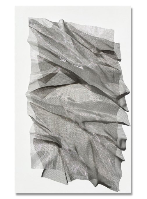 Mareo Rodriguez Mantle, Stainless steel mesh on plywood, cm 110x70 - Courtesy E3 Arte Contemporanea, Brescia