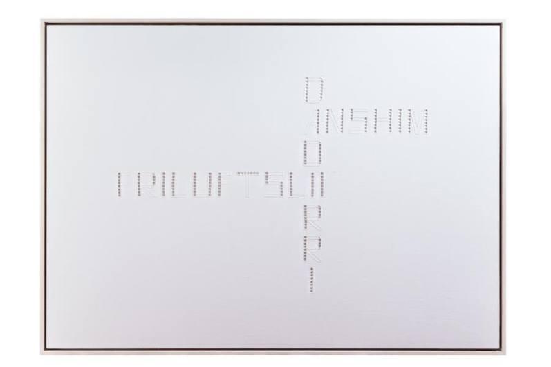 Stefano Boccalini, La ragione nelle mani - Dadirri, Anshim, Friluftsliv, 2020, lino, punto e intaglio (ricamo), 100x140x5 cm