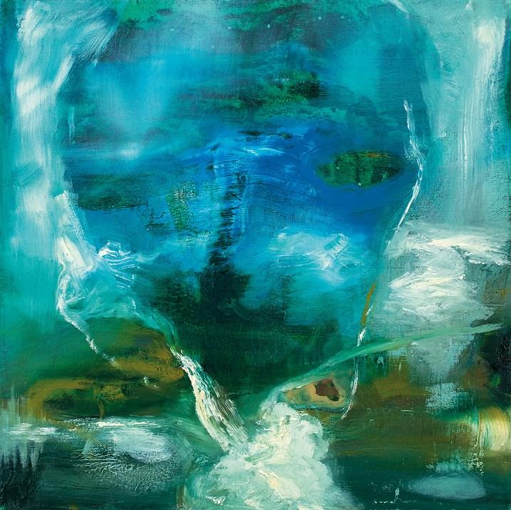 Angelo Bellobono, Paesaggio bucato, olio su tela, 50x50 cm, 2019