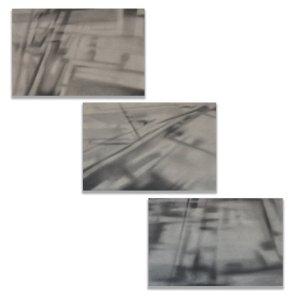 Antonio Marchetti Lamera, Tempo inafferrabile, 2020, grafite su dibond, 3 elementi da 40x60 cm ciascuno