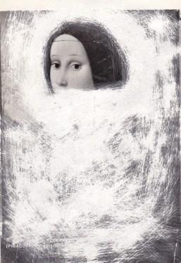 Audrey Guttman, Erased Madonna, 2021, collage su carta, cm 15x10. Courtesy Futura Art Gallery