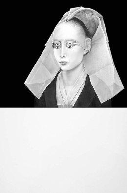 Mariella Bettineschi, L'era successiva (Rogier van der Weyden, Ritratto di Signora), 2020, stampa digitale su plexiglass, 70x46x2 cm Courtesy Richard Saltoun Gallery, London