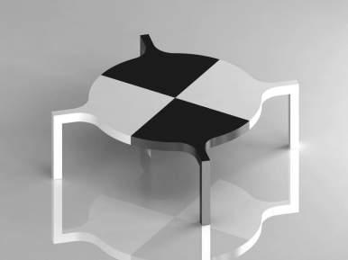 Marcello Morandini, Tavolo Maria, laminato stratificato Print HPL Abet, 292x292x73 cm