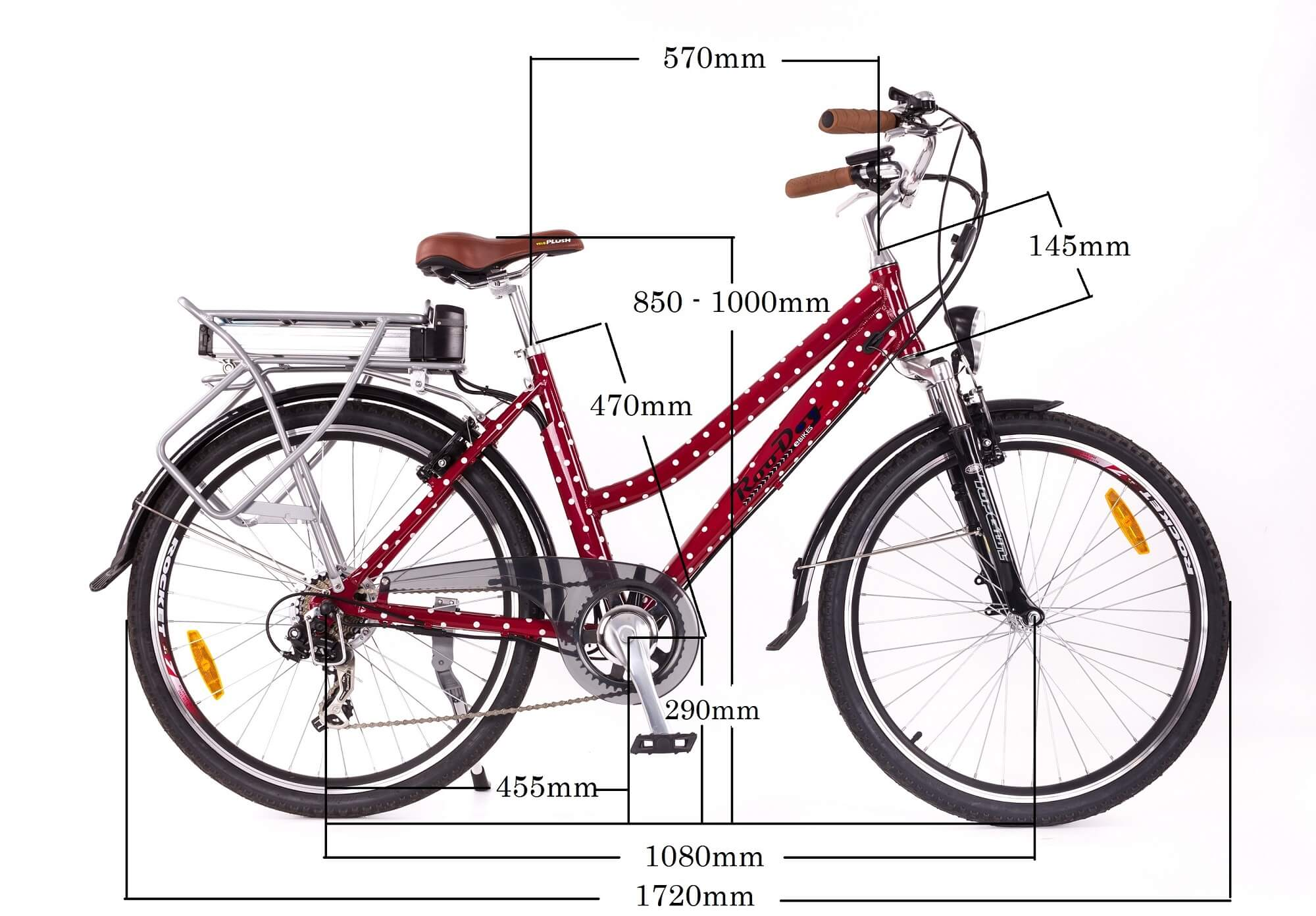 RooDog polka dot electric bike measurements