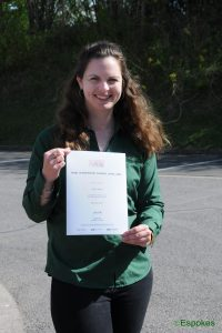 Partner of Espokes Laura Jones with her certificate fo completing the British Cycling ride leadership level oner