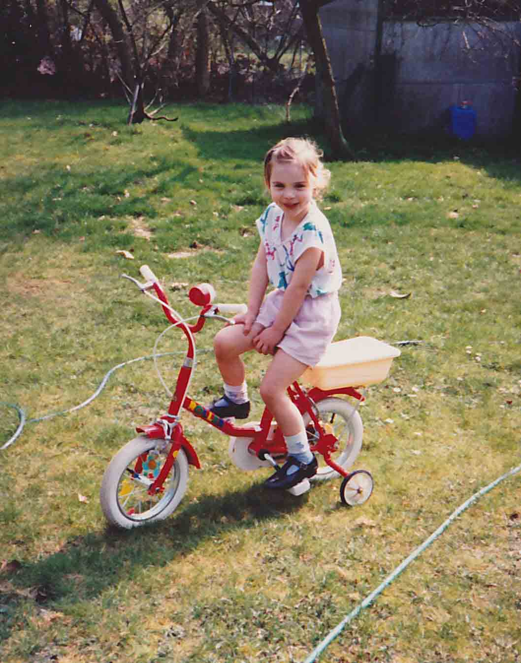 Laura on her Raleigh bicycle