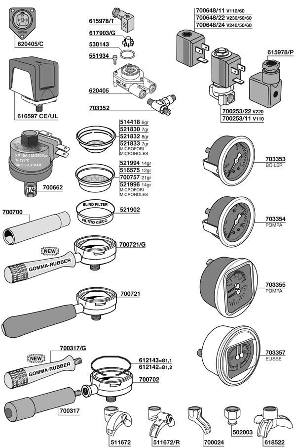 Bezzera Filter-Holder Gauge Flow-Meter Pressure-Switch