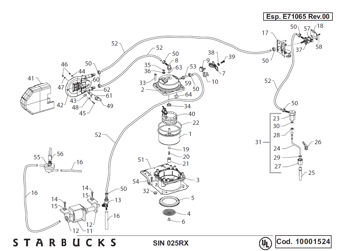 Saeco Starbucks Sirena Schematic Drawing 2 Exploded View