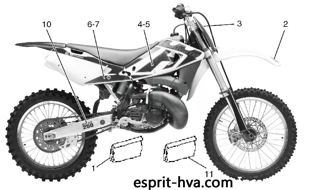 DECO 2 POUR HUSQVARNA WR250 2002 Esprit-HVA.com la