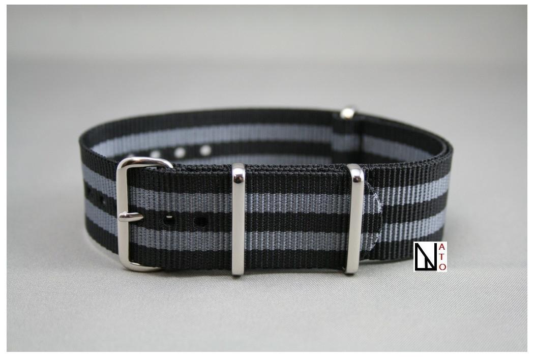 bracelet montre nato james bond noir gris grande longueur xl