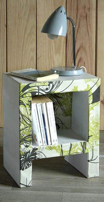 table de chevet en carton esprit cabane