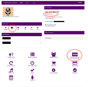 """Main Parent Portal Image. Options for """"Pay"""" in Quick Links, """"Make Payment"""" in Your Account, and the Icon """"Make Online Payment"""" are all highlighted with a red circle."""