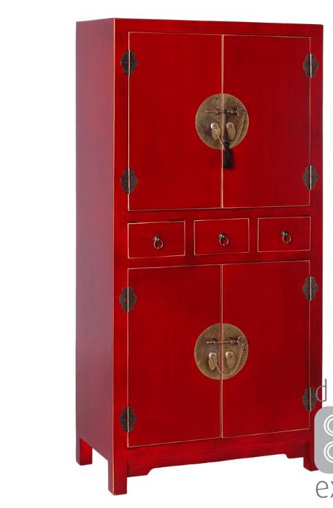 meuble de rangement oriente rouge