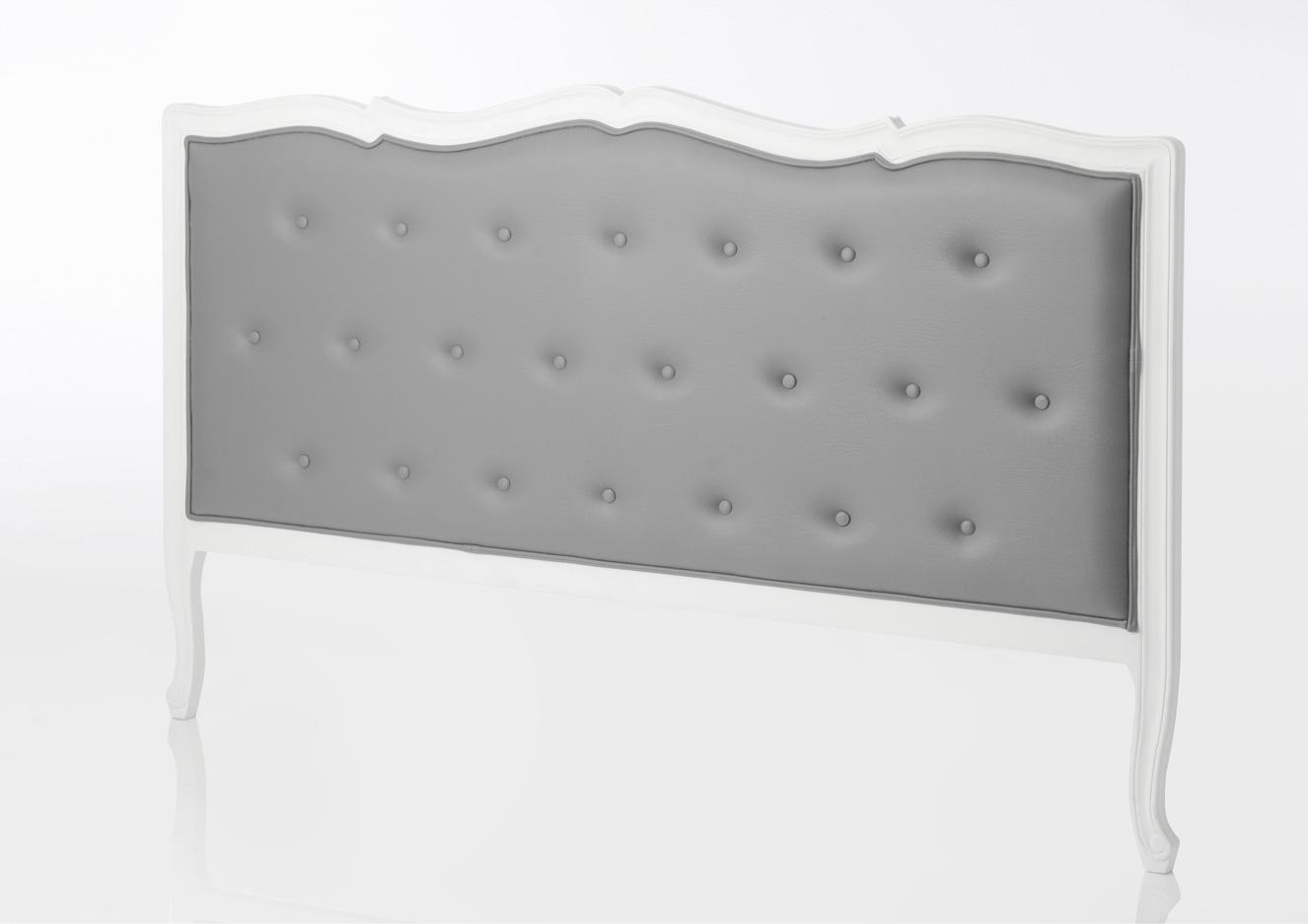 tete lit 180 murano blanche capitonnee en simili gris