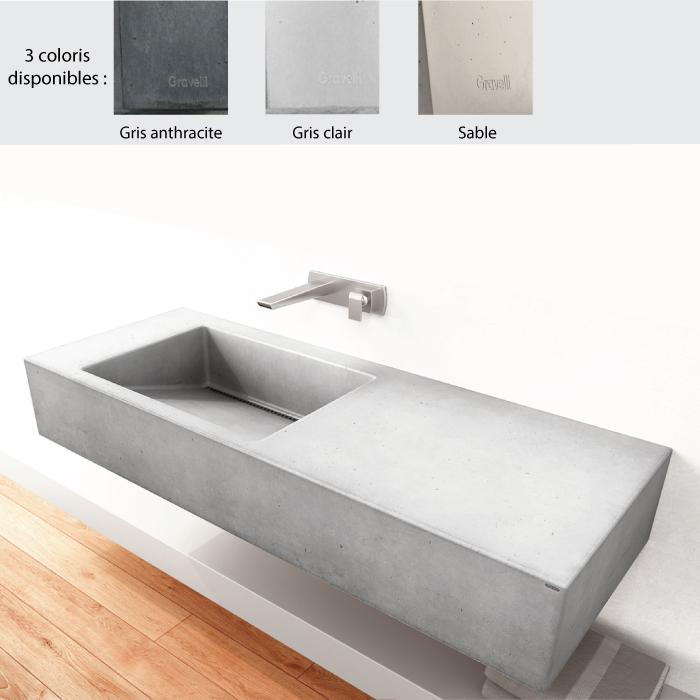 lavabo suspendu 120x45 cm design slant 01 single 0 1 3 trous beton poli 3 coloris