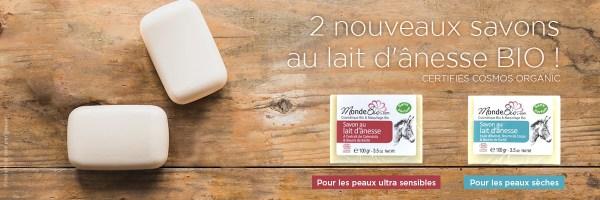 -25% sur la gamme de lots de 3 savons à 40% de lait d'ânesse Monde bio !