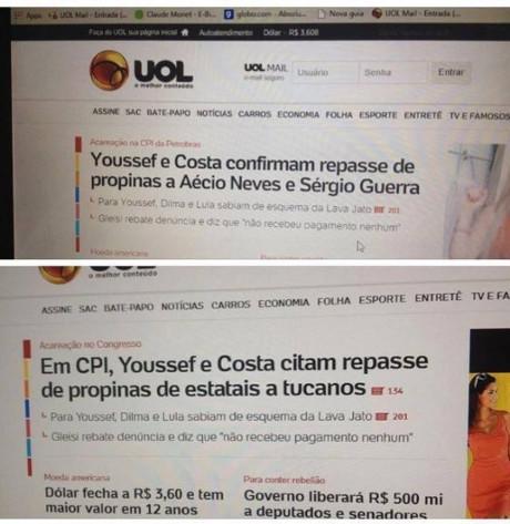 Título do portal UOL foi alterado para retirar o nome de Aécio Neves