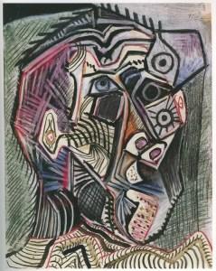 PICASSO Pablo Autoportrait 28 juin - 4 juillet 1972 -crayons de couleurs gouache encre de chine et lavis d'encre sur papier 65,7x50,5cm collection privée