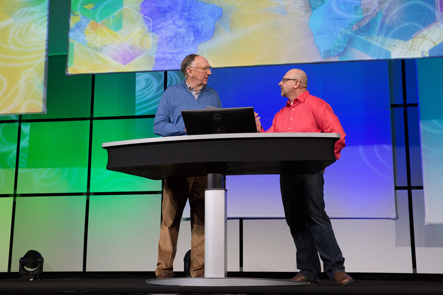 sofa ersi grinno fabrics india online arcwatch a geospatial technology feast esri president jack dangermond left joined arcgis program manager jim mckinney on stage to talk about the science of where