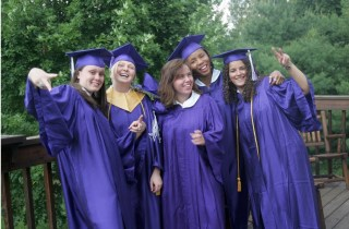 Group of students graduating.
