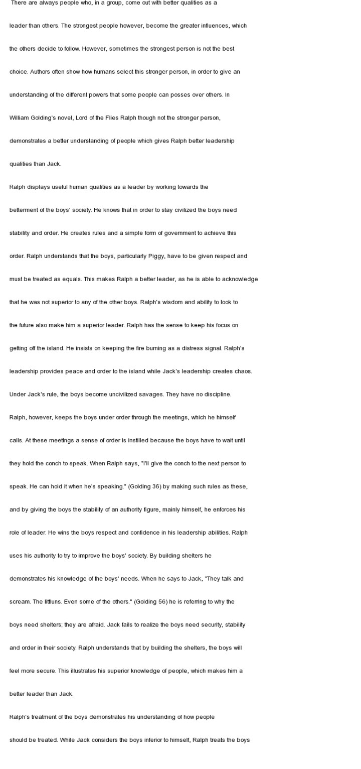 lord of the flies essay jack evil