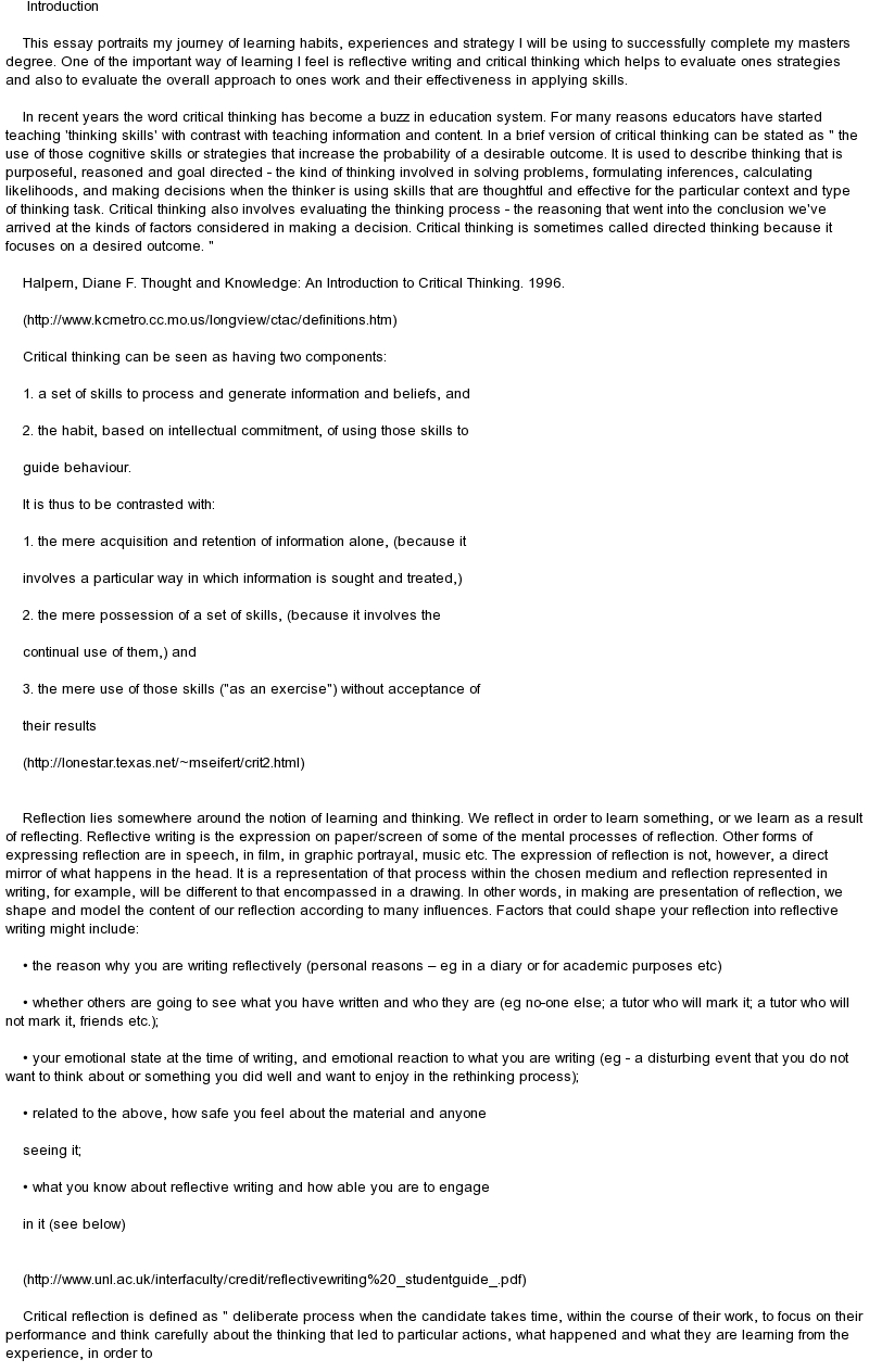 Research Critique Essay Examples Of Critical Thinking Essays