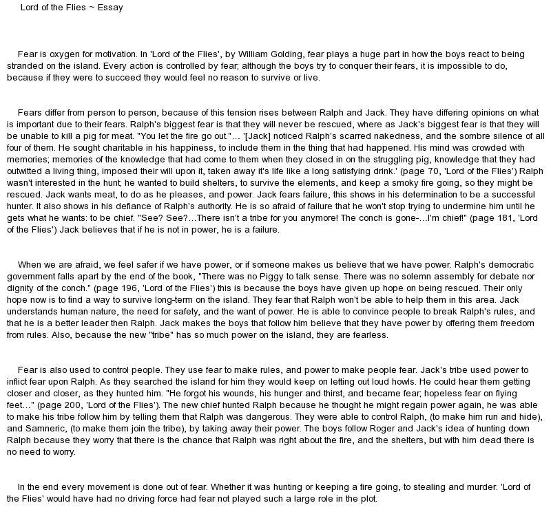 Essay Lord Of The Flies Lord Of The Flies Essay Where S The Beast