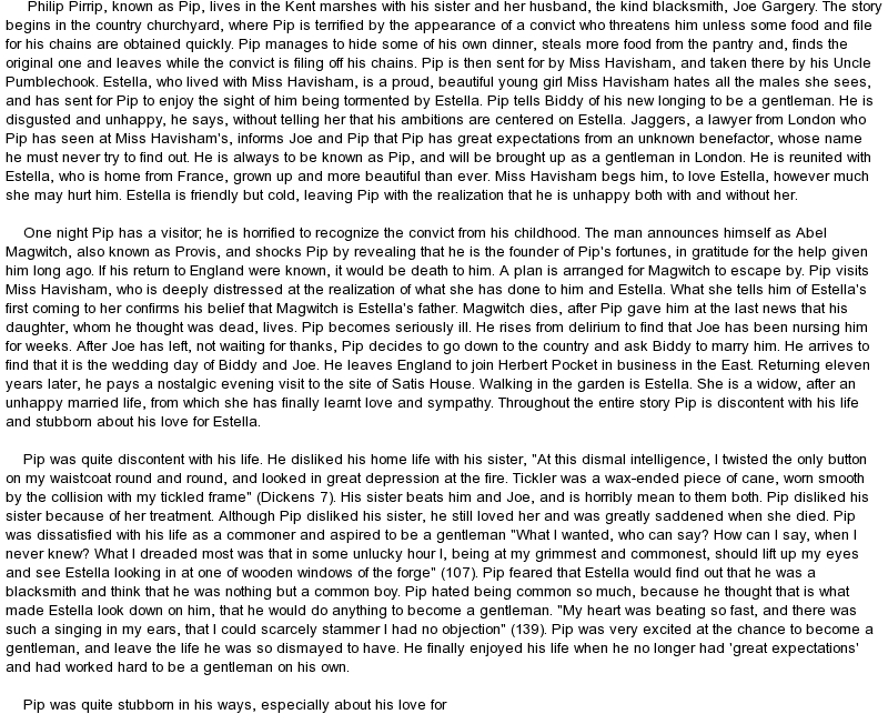 Great expectations guilt essay