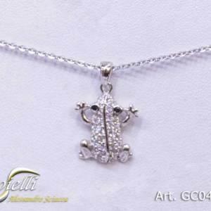 Girocollo in argento con pendente rana