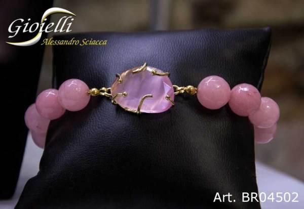 Bracciale con sfere faccettate di quarzo rosa e chiusura in acciaio dorato