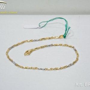 Bracciale uomo maglia tubolare in oro giallo e bianco - BRR0175