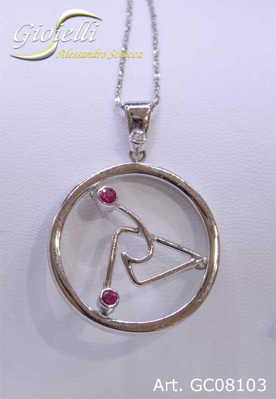 Girocollo in argento con pendente cerchio fantasia e zirconi