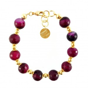 BRACCIALE IN OTTONE IP GOLD E PIETRE NATURALI