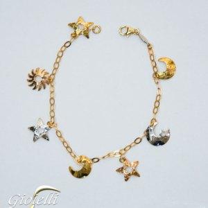 Bracciale donna maglia rolò con charm sole luna e stelle, in oro giallo e bianco. Lunghezza cm 18