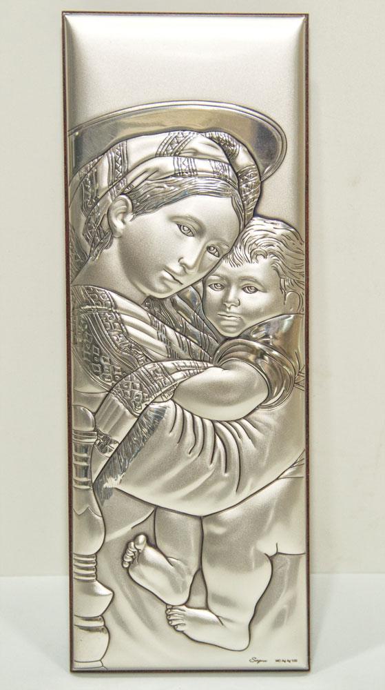Icona in argento bilaminato Madonna con Bambino