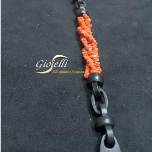 bracciale ebano e corallo