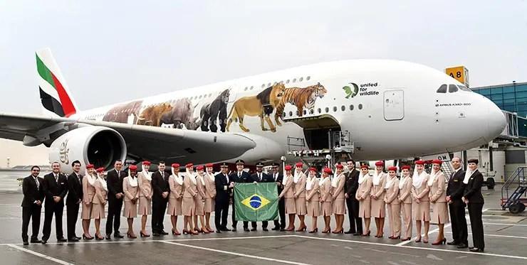 Maior avião de passageiros do mundo rumo ao Brasil (Foto: Divulgação/Emirates)