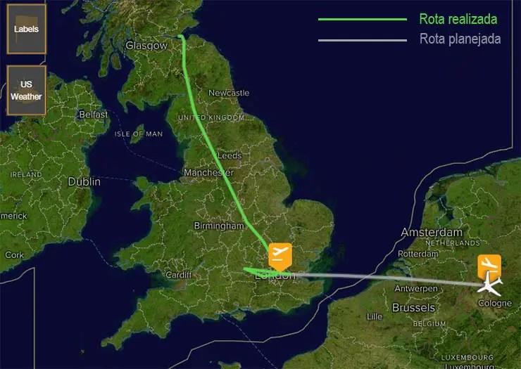 Voo entre Londres e a Alemanha pousa na Escócia por engano (Reprodução/FlightStats)