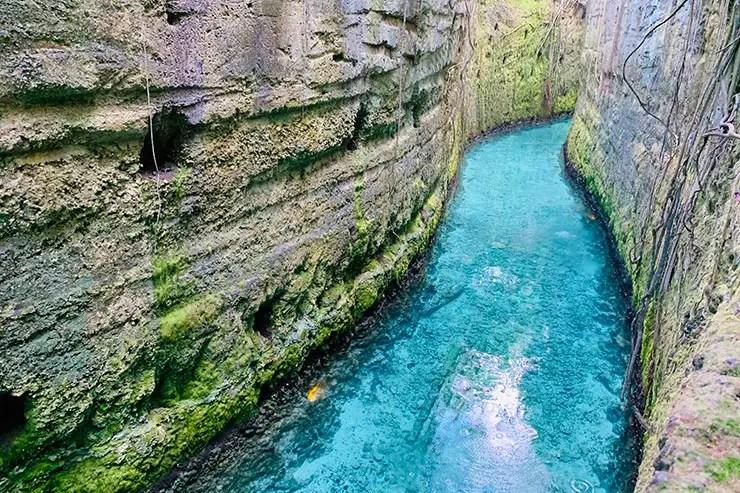 Um dos rios subterrâneos com água azul cristalina do parque situado na região de Playa del Carmen (Foto: Esse Mundo é Nosso)