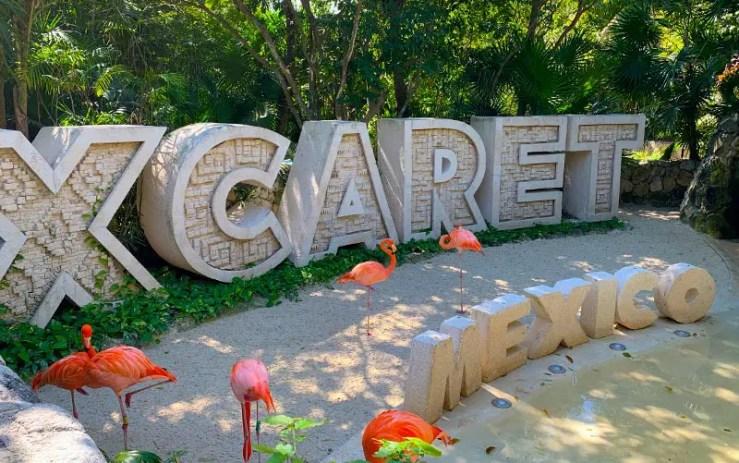 Placa escrito Xcaret, em Cancún, no México, com flamingos(Foto: Esse Mundo é Nosso)