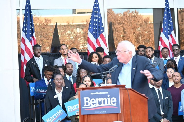 Presidential candidate Bernie Sanders speaks to a crowd of HBCU students on the campus of Morehouse College.