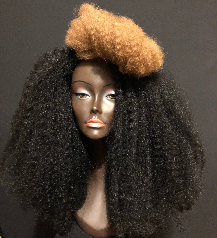 Ew 146 Essence Wigs Black Blonde Two Tone Streak Wig Unit Na