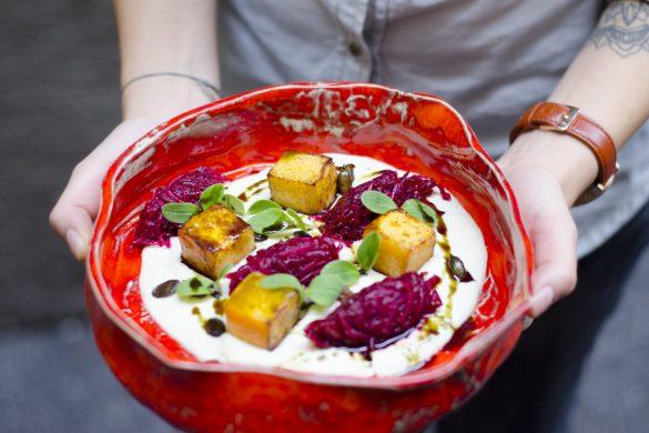 Selleriepree mit Krbis und Rote RbenKrenSalat  Essen